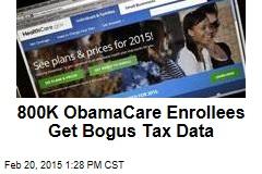 800K ObamaCare Enrollees Get Bogus Tax Data