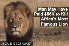 Man May Have Paid $55K to Kill Africa's Most Famous Lion