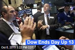 Dow Ends Day Up 13