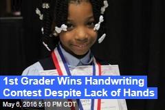 1st Grader Wins Handwriting Contest Despite Lack of Hands