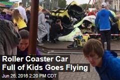 Roller Coaster Car Full of Kids Goes Flying