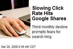 Slowing Click Rate Hits Google Shares