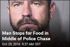 Man Stops for Food in Middle of Police Chase