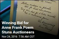 Winning Bid for Anne Frank Poem Stuns Auctioneers
