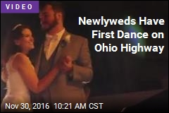 Newlyweds Have First Dance on Ohio Highway