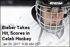 Bieber Takes Hit, Scores in Celeb Hockey