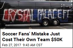 Soccer Fans Accidentally Vandalize Their Own Bus