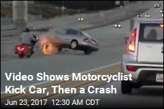 Video Shows Scary Road-Rage Incident With Motorcycle, Car