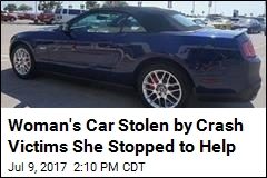 Woman's Car Stolen by Crash Victims She Stopped to Help