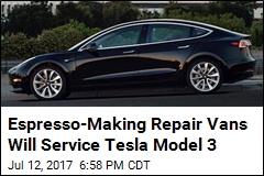 Espresso-Making Repair Vans Will Service Tesla Model 3