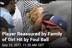 Player Reassured by Family of Girl Hit by Foul Ball