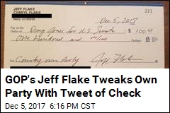 GOP's Jeff Flake Tweaks Own Party With Tweet of Check