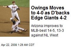 Owings Moves to 4-0 as D'backs Edge Giants 4-2