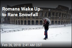 Romans Wake Up to Rare Snowfall
