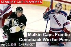 Malkin Caps Frantic Comeback Win for Pens