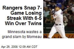 Rangers Snap 7-Game Losing Streak With 6-5 Win Over Twins