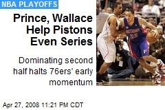 Prince, Wallace Help Pistons Even Series