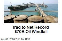 Iraq to Net Record $70B Oil Windfall