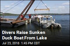 Sunken Duck Boat Is Raised From Lake Bottom