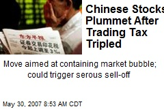 Chinese Stocks Plummet After Trading Tax Tripled