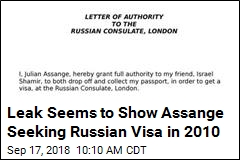 Letter Appears to Show Assange Seeking Russian Visa in 2010