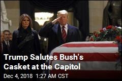 Trump Salutes Bush's Casket at Capitol