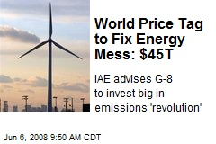 World Price Tag to Fix Energy Mess: $45T