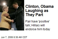 Clinton, Obama Laughing as They Part