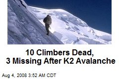 10 Climbers Dead, 3 Missing After K2 Avalanche