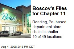 Boscov's Files for Chapter 11