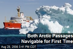 Both Arctic Passages Navigable for First Time
