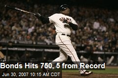 Bonds Hits 750, 5 from Record