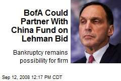 BofA Could Partner With China Fund on Lehman Bid