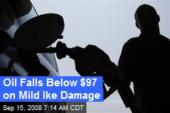 Oil Falls Below $97 on Mild Ike Damage