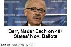 Barr, Nader Each on 40+ States' Nov. Ballots