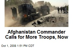 Afghanistan Commander Calls for More Troops, Now