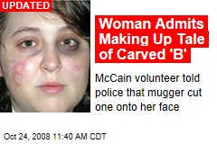 Woman Admits Making Up Tale of Carved 'B'