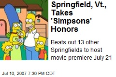 Springfield, Vt., Takes 'Simpsons' Honors