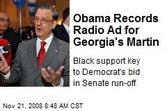 Obama Records Radio Ad for Georgia's Martin