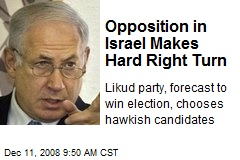 Opposition in Israel Makes Hard Right Turn