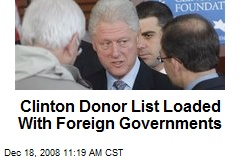 Clinton Donor List Loaded With Foreign Governments