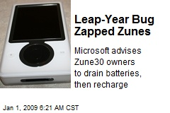 Leap-Year Bug Zapped Zunes