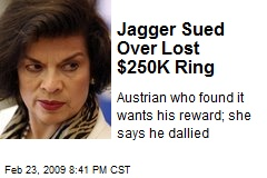 Jagger Sued Over Lost $250K Ring