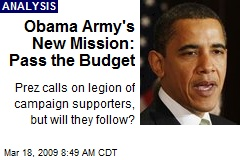 Obama Army's New Mission: Pass the Budget