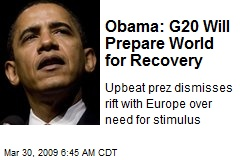 Obama: G20 Will Prepare World for Recovery