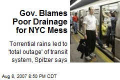Gov. Blames Poor Drainage for NYC Mess