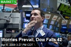 Worries Prevail, Dow Falls 42