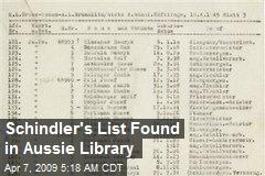 Schindler's List Found in Aussie Library