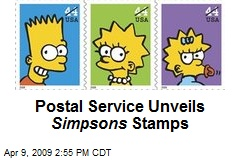 Postal Service Unveils Simpsons Stamps