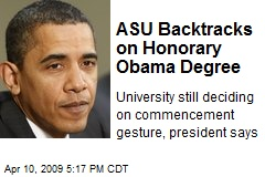 ASU Backtracks on Honorary Obama Degree